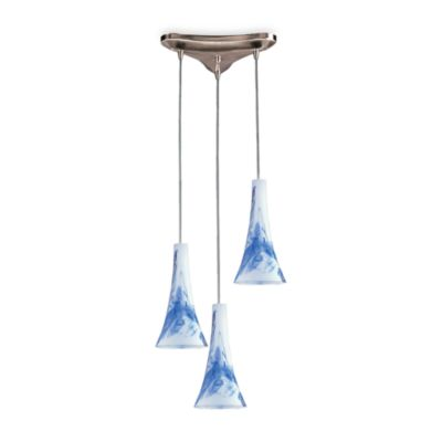 ELK Lighting Pendant Trio with Mountain Glass and Satin Nickel