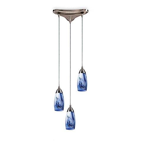 Vertical Pendant 3-Light Fixture in Satin Nickel with Mountain Glass