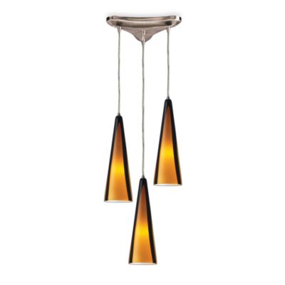 ELK Lighting Pendant Trio with Amber Sahara Glass and Satin Nickel Finish
