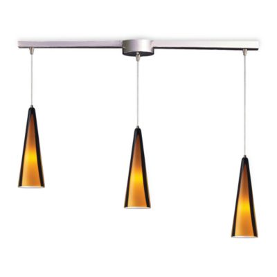 ELK Lighting Desert Winds 3-Light Pendant Ceiling Lamp Satin Nickel/Sahara Glass