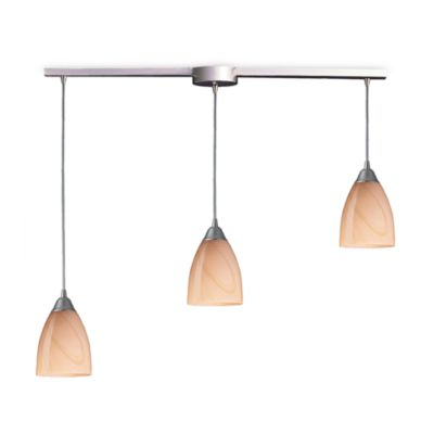 ELK Lighting Pierra 3-Light Pendant Ceiling Lamp in Satin Nickel/Sandy Glass