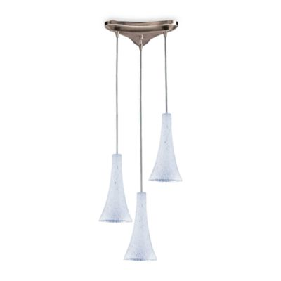 Elk Lighting Vertical 3-Light Cloudburst Pendant with Satin Nickel Finish and