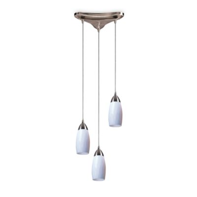 Satin Nickel and Hand Blown White Glass Three Light Pendant Fixture by Elk Lighting