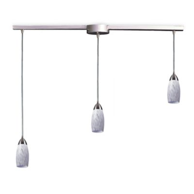 ELK Lighting Milan 3-Light Pendant Ceiling Lamp Satin Nickel/Snow White Glass