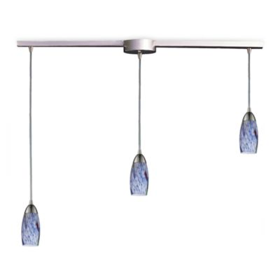 ELK Lighting Milan 3-Light Pendant Ceiling Lamp Satin Nickel/Starlight Blue Glass