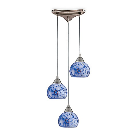 Elk Lighting Vertical Pendant Light With Blue Glass on a Round Satin Nickel Base