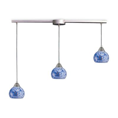 ELK Lighting Mela 3-Light Pendant Ceiling Lamp in Satin Nickel with Starlight Blue Glass