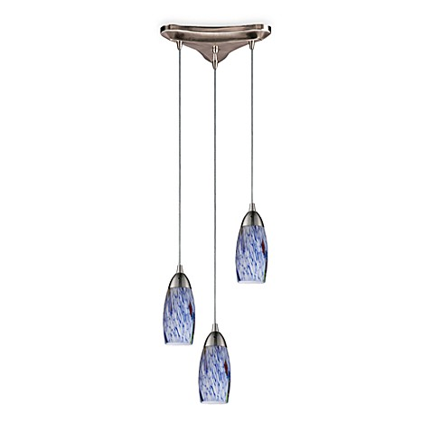 ELK Lighting Three Light Vertical Pendant Fixture in Satin Nickel with Starlight Blue Glass