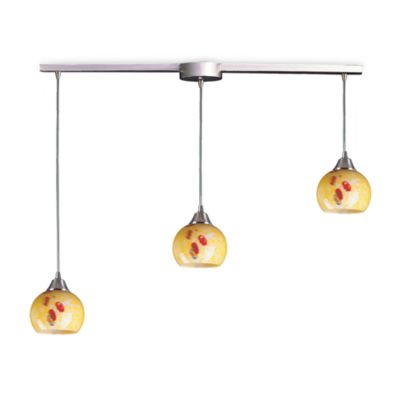 ELK Lighting Mela 3-Light Pendant Ceiling Lamp Satin Nickel/Yellow Blaze Glass