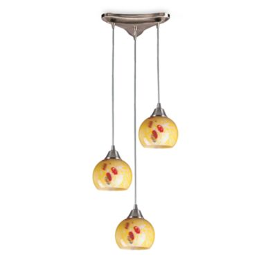 Round and Vertical Yellow Blaze Glass Pendant Light Fixture with Satin Nickel Base