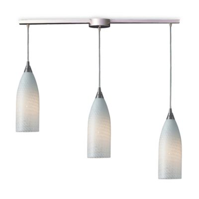 ELK Lighting Cilindro 3-Light Pendant Ceiling Lamp Satin Nickel/White Swirl Glass
