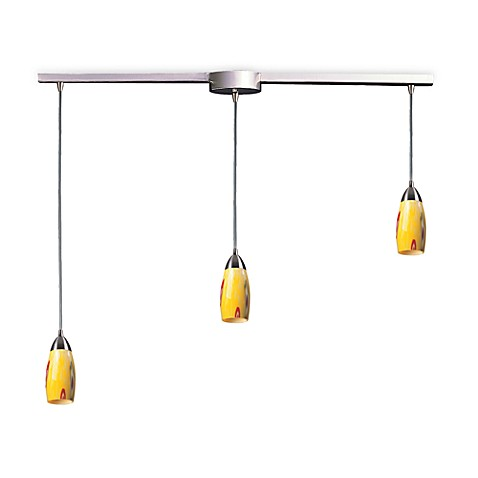 ELK Lighting Milan 3-Light Pendant Ceiling Lamp Satin Nickel/Yellow Blaze Glass