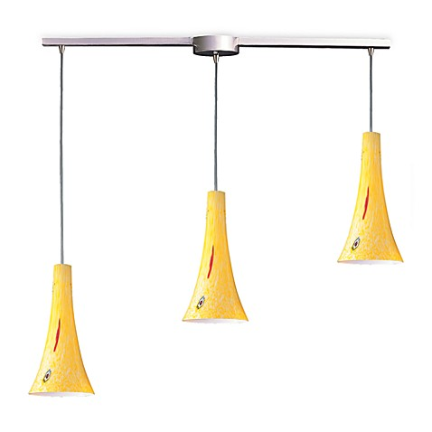 ELK Lighting Tromba 3-Light Pendant Ceiling Lamp in Satin Nickel/Yellow Blaze Glass