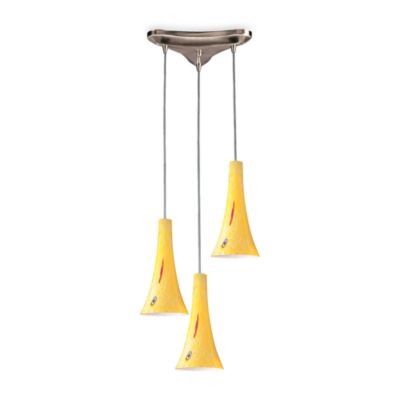 Vertical Tromba Satin Nickel Pendant Light With Yellow Blaze Glass