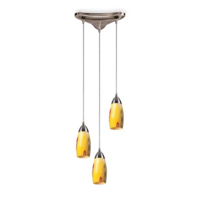 Satin Nickel and Hand-Blown Glass 3-Light Vertical Pendant