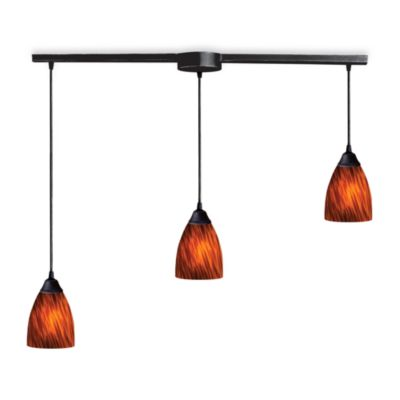 ELK Lighting Classico 3-Light Pendant Ceiling Lamp in Dark Rust/Espresso Glass
