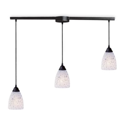 ELK Lighting Classico 3-Light Pendant Ceiling Lamp in Dark Rust/Snow White Glass