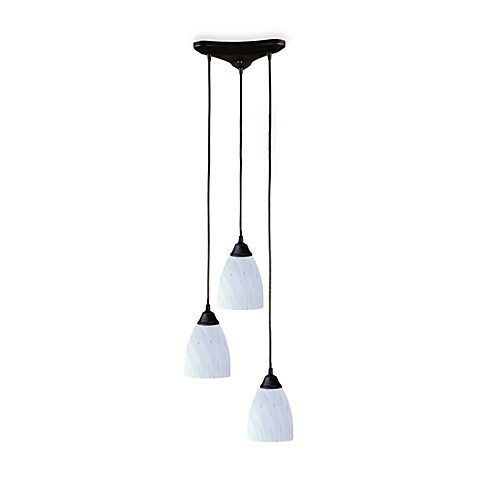 Quoizel®  Staggered Pendant Trio With Hand-Blown White Glass and Dark Rust Finish