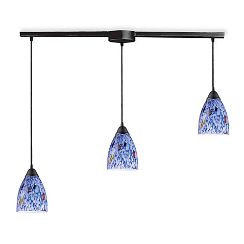 ELK Lighting Classico 3-Light Pendant Ceiling Lamp in Dark Rust/Starlight Blue Glass