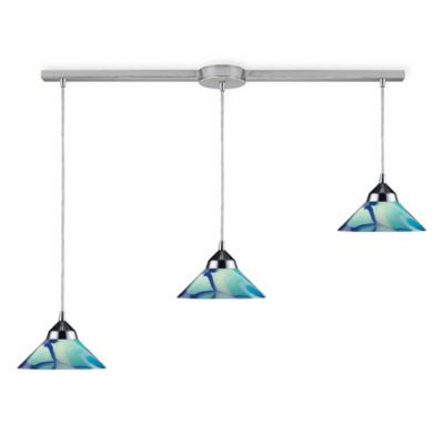ELK Lighting Refraction 3-Light Pendant Ceiling Lamp in Polished Chrome/Caribbean Glass