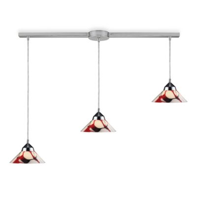 ELK Lighting Refraction 3-Light Pendant Ceiling Lamp in Polished Chrome/Creme White Glass
