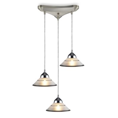 ELK Lighting Vertical 3-Light Prism Pendant with Transparent Etched Glass Shades in Polished Chrome