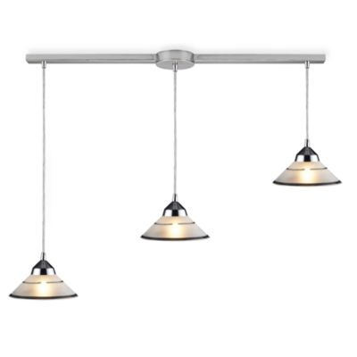 ELK Lighting Refraction 3-Light Pendant Ceiling Lamp in Polished Chrome/Clear Etched Glass