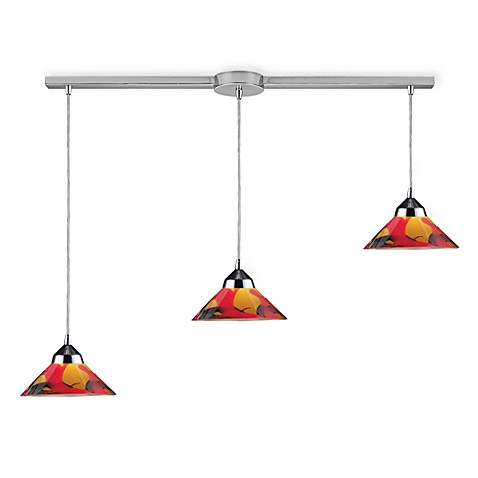 ELK Lighting Refraction 3-Light Pendant Ceiling Lamp in Polished Chrome/Jasper Glass