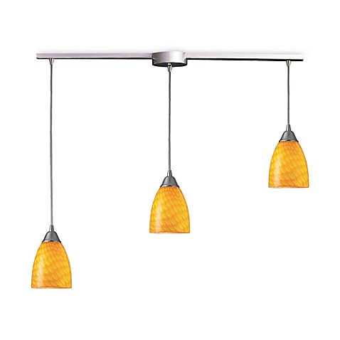 ELK Lighting Arco Baleno 3-Light Pendant Ceiling Lamp Satin Nickel/Canary Glass