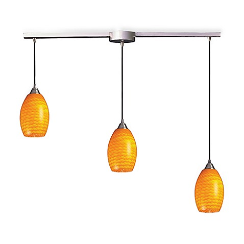 ELK Lighting Mulinello 3-Light Pendant Ceiling Lamp in Satin Nickel/Canary Glass