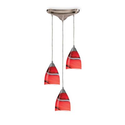 ELK Lighting 3-Light Staggered Pendant with Candy Swirl Glass