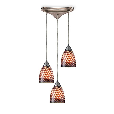 Satin Nickel Vertical 3-Light Pendant with Coco Glass Shades