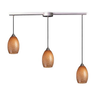 ELK Lighting Mulinello 3-Light Pendant Ceiling Lamp in Satin Nickel/Coco Glass