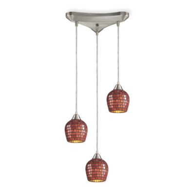 ELK Lighting Pendant Trio with Copper Mosaic Glass and Satin Nickel Hardware