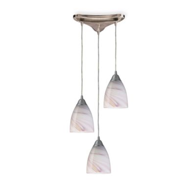 Elk Lighting Vertical 3-Light Pendant Light Fixture in Satin Nickel and Creme Glass