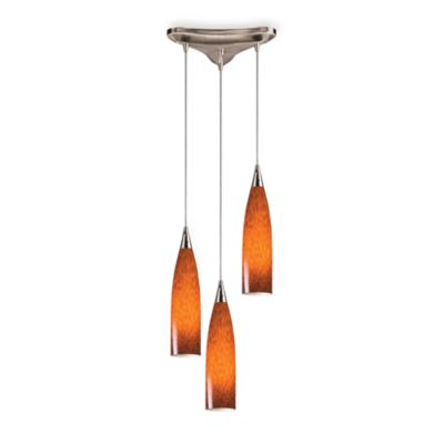 Three Light Espresso Glass and Satin Nickel Long Vertical Pendant Light
