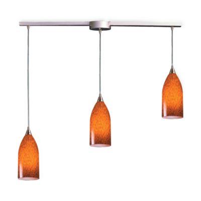 ELK Lighting Verona 3-Light Pendant Ceiling Lamp in Satin Nickel/Espresso Glass