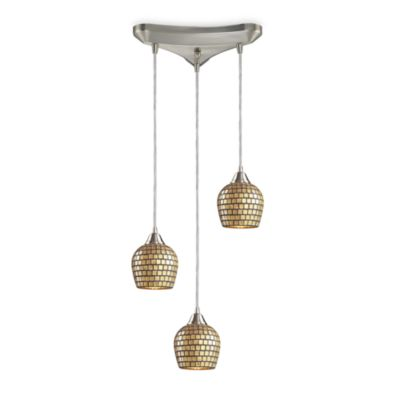 Three Light Vertical Pendant With Gold Mosaic Glass and Satin Nickel Finish