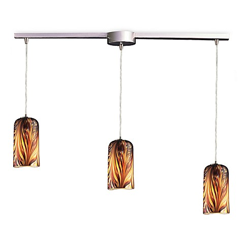ELK Lighting Molten 3-Light Pendant Ceiling Lamp Satin Nickel/Molten Sunset Glass