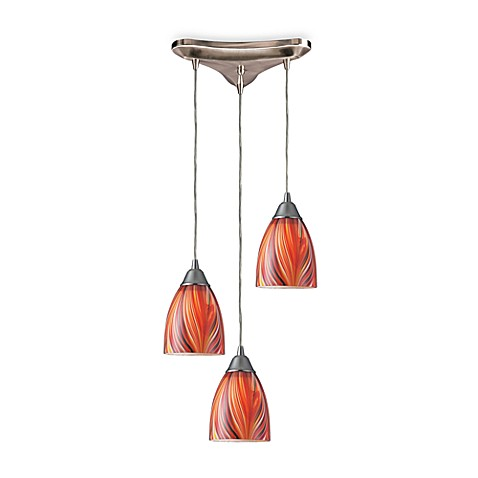 ELK Lighting Pendant Trio with MultiColor Glass and Satin Finish Hardware