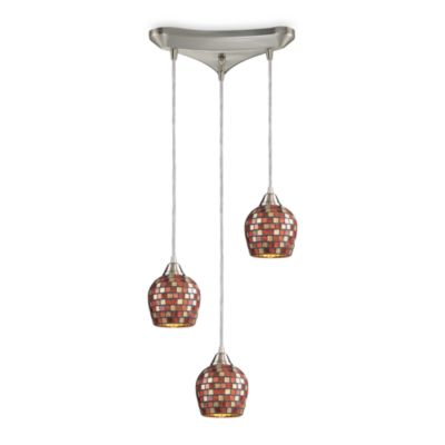 Elk Lighting Vertical 3-Light Pendant with Multicolored Mosaic Glass and Satin Nickel Finish