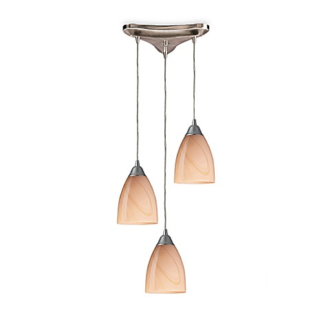 ELK Lighting Pendant Trio with Sandy Glass and Satin Nickel Finish