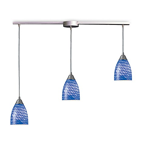 ELK Lighting Arco Baleno 3-Light Pendant Ceiling Lamp Satin Nickel/Sapphire Glass