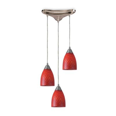 Scarlet Red Glass Vertical Hanging Pendant Light Fixture in Satin Nickel