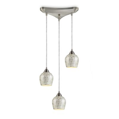 ELK Lighting 3-Light Pendant with Silver Mosaic Shades