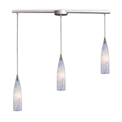 ELK Lighting Lungo 3-Light Pendant Ceiling Lamp Satin Nickel/Snow White Glass