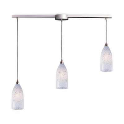 ELK Lighting Verona 3-Light Pendant Ceiling Lamp in Satin Nickel/Snow White Glass