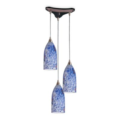ELK Lighting Vertical 3-Light Pendant Light with Satin Nickel Finish and Hand-Blown Blue Glass