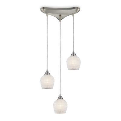 Round and Vertical 3-Light Pendant with White Mosaic Glass and Satin Nickel