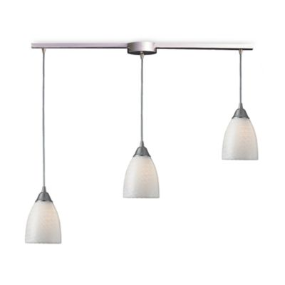 ELK Lighting Arco Baleno 3-Light Pendant Ceiling Lamp Satin Nickel/White Swirl Glass
